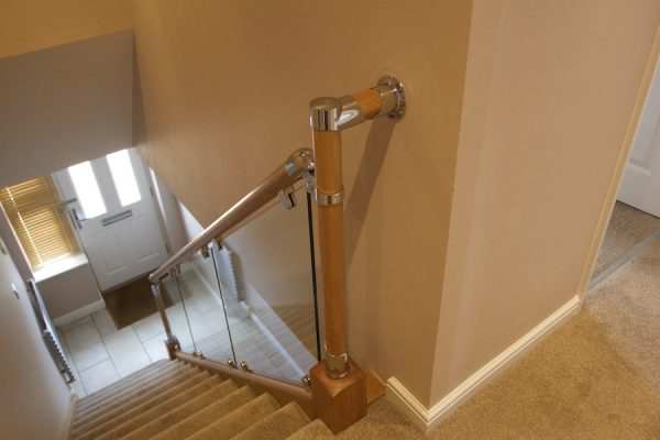 Chrome and glass balustrade, Lutterworth